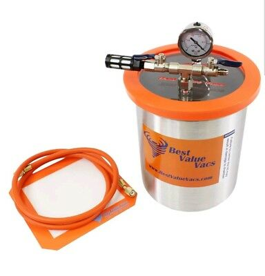 1 Gallon Tall Stainless Steel Vacuum Chamber and 3cfm Pump Kit
