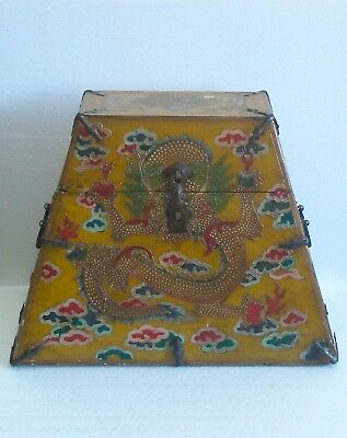 Vintage Chinese Sino-Tibetan Lacquered Painted Wood Box w Dragons Lacquer