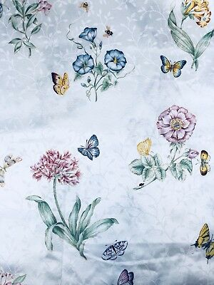 Lenox Butterfly Meadow Shower Curtain Floral On White Cottage Flowers