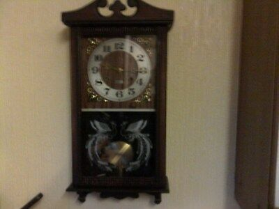 Wall Clock In Dark Brown Wood Condition Very Good For Its Age 31 Day Wind Up