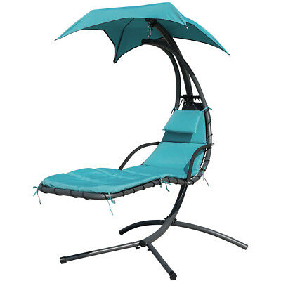 Patio Yard Hanging Chaise Lounger Chair Arc Stand Air Porch Swing Hammock Canopy