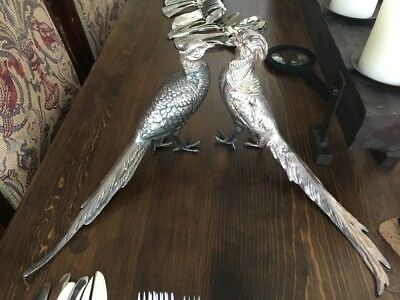 Pair Antique Jennings Brothers Silverplate Table Pheasants sculptures JB 2483