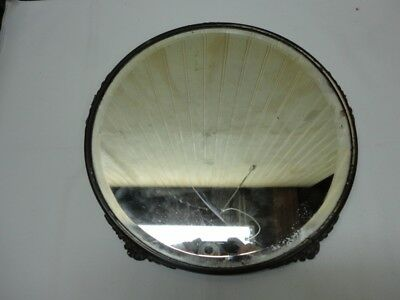 VINTAGE ART NOUVEAU Round FOOTED Centerpiece MIRROR - Note on the back says 1912