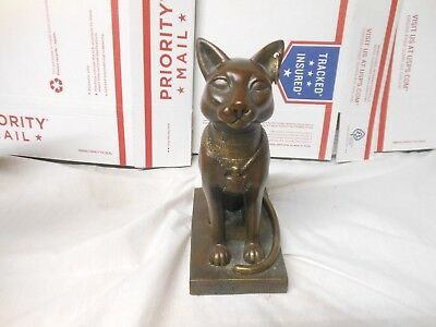 Bast Bastet Egyptian Cat Goddress Antique Bronzed Resin Statue on Pedestal -