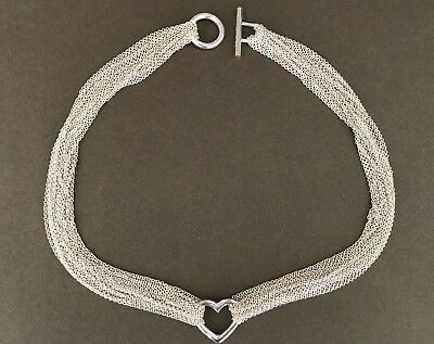 622612ea2 Tiffany & Co Sterling Silver MULTI STRAND MESH OPEN HEART Toggle Necklace
