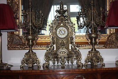 Antique vintage Brass Garniture Set: Mantle Clock huge