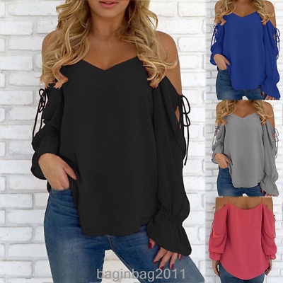 Womens V-Neck Summer Lace-up Cold Shoulder Blouse Ladies Long Sleeve Tops Shirt
