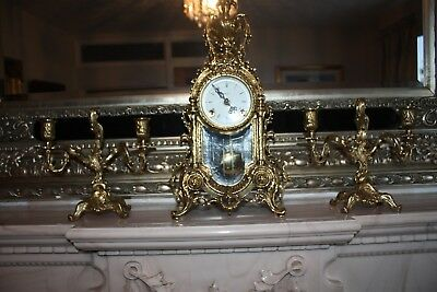 Antique vintage Brass Garniture Set: Clock