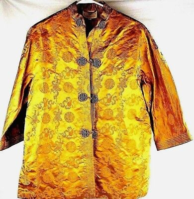 VINTAGE DYNASTY Crown Colony HONG KONG dinner jacket~SILK~GOLD Medallions~SZ 14