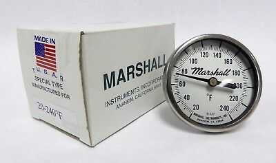 """Marshall SS Dial Thermometer 20-240F, 2-1/4"""" Dial, 2-1/2"""" Stem, 1/4"""" NPT CB (A-2"""