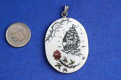 Scrimshaw Oval Pendant Clipper Ship, Red Rose, Sun & Clouds - Free Shipping!