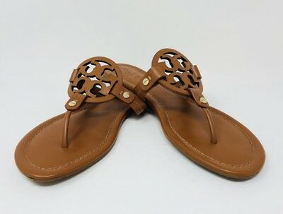 43c9e9f3b301 16 TORY BURCH Miller Spark Gold Leather Logo Thong Sandals Women s ...