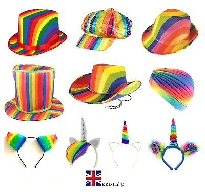 GAY PRIDE FANCY DRESS HATS Rainbow Wear LGBT Parade Happy Adult Party Lot NEW UK