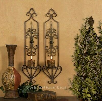 ST/2 French Tuscan Scroll Mediterranean Wall Sconce Candle Holders