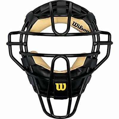 Wilson Dyna-Lite Steel Cage Two Tone Black and Leather Umpire's Facemask