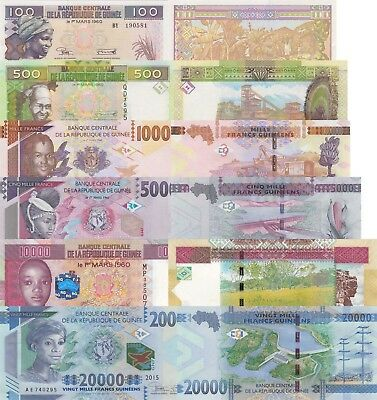 Guinea 6 Note Set: 100 to 20000 Francs (2012/2015) - p39-New to p49 UNC