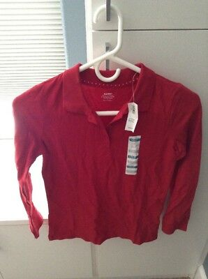 Old Navy Uniform Pique Polo For Girls Long Sleeve Red Size L (10-12)- NWT
