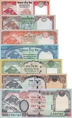 Nepal 7 Note Set: 5 to 1000 Rupees (2012/2017) - pNew/p74/p76 UNC