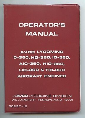 Operator's Manual Avco Lycoming O-360 And Associated Models Aircraft Engines.