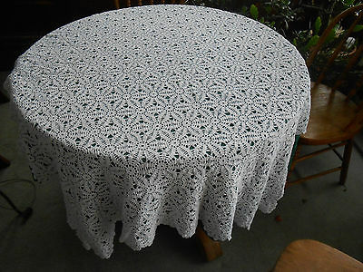 Antique White Hand Crochet Tablecloth In A Star Like Pattern, Circa 1930