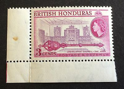 wonderful mint corner piece 3 Cents British Honduras 1953