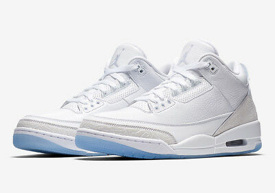 sale retailer b0b2b 2e712 Nike Men s Air Jordan 3 Retro Pure White NEW AUTHENTIC Triple White  136064-111