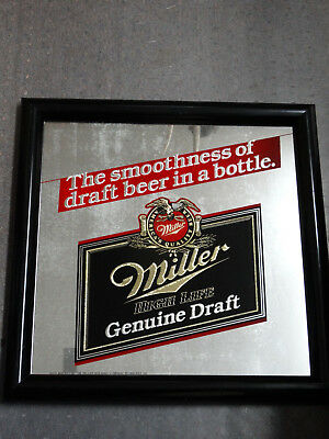 "Vintage Advertising Miller High Life Beer 15"" By 15"" Beer Mirror Man Cave Sign"