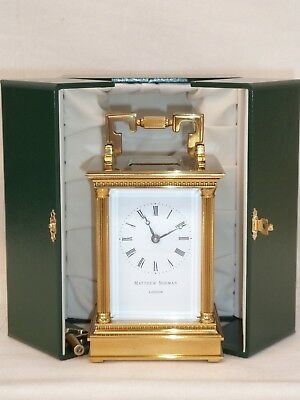 Superb Matthew Norman 8 Day Brass Anglaise Carriage Mantel Mantle Clock + Case