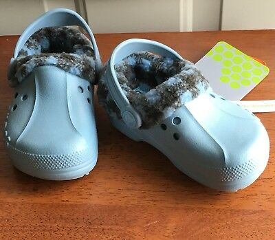 3f90d8567026 Crocs Toddler s Classic Cayman Lined Shoes Blue Size 8 9 NEW