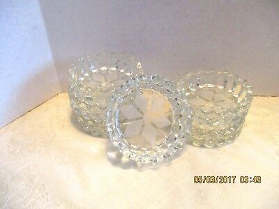 6 Sm. Clear Glass Round Flower Frosted Bottom Saw Tooth Top Rim Ashtrays/Coaster