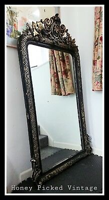 Huge Original Antique 19th Century French Gold & Black Gilt Mirror 159cm high