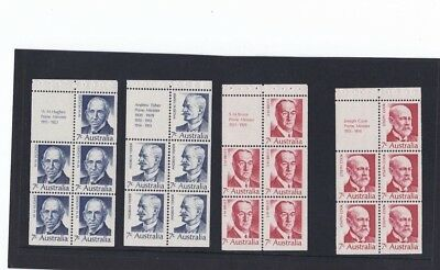 Mint 1972 Prime Ministers Fisher,cook,hughes,bruce Booklet Panes Muh