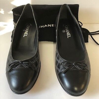 6ca791080af0b CHANEL BLACK QUILTED Leather Cap Toe Ballet Flats. IT 9.5 US 8.5 ...