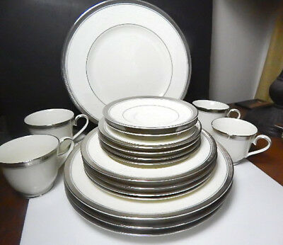 Noritake ARDMORE PLATINUM FOUR - Five Piece Place Settings SERVICE for 4 - NEW!