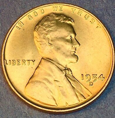 BRILLIANT UNCIRCULATED LINCOLN WHEAT CENT PENNY from OBW ROLL 1954-S GEM BU++