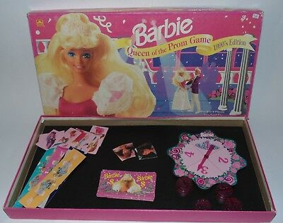 Barbie Queen of the Prom Board Game 1990's Edition NEAR COMPLETE in Box Vintage