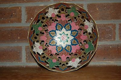 Vintage Solid Brass Bowl Multi Color Floral Oriental India Look Beautiful