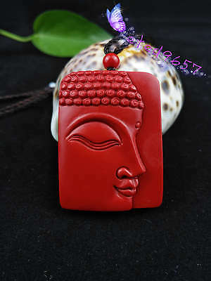 Natural Red Organic Cinnabar  Pendant Chinese Buddhism Lucky Amulet Hot
