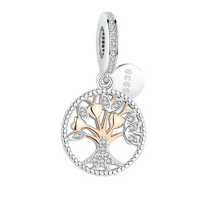 Gold Family Tree heritage charm 100% 925 Sterling Silver Pandora beads