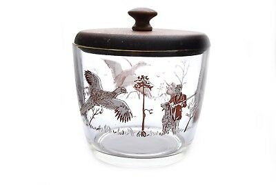 Vintage Pheasant Glass Hunting Ice Bucket Gold Trim Wood Lid