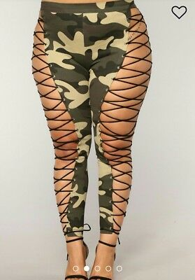 e515dbac7869d5 Forever 21 plus size camo lace up stretchy legging/pants 1x WILL NOT RELIST
