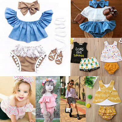 2/3Pcs Newborn Toddler Infant Baby Girl Clothes T-shirt Tops+Shorts Outfits USA