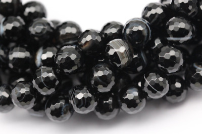 Gorgeous Faceted Black Stripe Agate Genuine Round Loose Beads 15.5'' Long/Strand