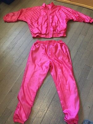 Women's 80's Two Piece Polyester Pink Track Suit Size Small