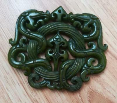 2018 Chinese Old Handwork Green Jade Carved Dragon Pendant