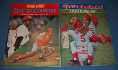 1975 Sports Illustrated Johnny Bench Reds Red Sox World Series Lot Of 2