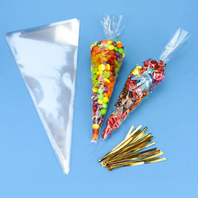 100pcs Clear Cellophane Cone Bags Twist Ties Large size Party Sweet Cello Candy