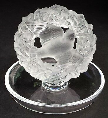 Signed Lalique PAX Frosted Crystal Dove Bird Wreath Pin Tray RIng Holder