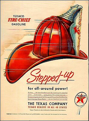 1950s vintage AD TEXACO Fire Chief Gasoline Art REd Fireman's Helmet 031417
