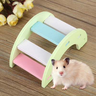 Wooden Hamster Play Bridge Toys Rainbow Seesaw Cage for Pet Rat Mouse Mice